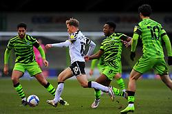 Tom Conlon of Port Vale gets past Ebou Adams of Forest Green Rovers- Mandatory by-line: Nizaam Jones/JMP - 16/01/2021 - FOOTBALL - innocent New Lawn Stadium - Nailsworth, England - Forest Green Rovers v Port Vale - Sky Bet League Two