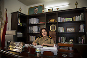 Sulaymaniyah, Iraq - <br /> <br /> Female Fighters of The Peshmerga<br /> As ISIS has swept across northern Iraq, they have become known for their atrocities towards women. However, there's a group of women that aren't preparing to flee ISIS but instead are preparing to meet them with their AK-47s. The 2nd Peshmerga, are a battalion of Kurdish fighters 'Äì and they just happen to be an all-female soldiers. They're front line troops, some of whom have been fighting for years, and they are eager to face ISIS. Dressed in army fatigues and armed with rifles, they are ready to lay down their lives to protect the Kurdish homeland against the threat of ISIS. They carry out training exercises and look no different from other Kurdish soldiers - except for a hint of makeup on some faces and long hair escaping from their caps. The 2nd Battalion consists of 550 mothers, sisters and daughters and was formed in 1996. Over the past month, they have moved into disputed areas abandoned by Iraqi security forces during the Isis advance. They have also recently seized control of oil production facilities at Bai Hassan and Kirkuk - the female Peshmerga will now be part of a mission to secure the city and its surrounding oil fields.<br /> <br /> Colonel NAHIDA AHMAD RASHID in her office. She is the Commander of the 2nd Battalion. The 2nd Battalion, is exclusively comprised of 550 female Peshmergas, which was implemented in 1996, and the only female official branch of the  Kurdish National Army<br /> ©Excluisvepix Media