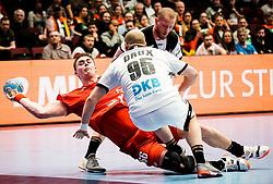 22.01.2020, Wiener Stadthalle, Wien, AUT, EHF Euro 2020, Deutschland vs Tschechien, Hauptrunde, Gruppe I, im Bild v. l. Stepan Zeman (CZE), Paul Drux (GER) // f. l. Stepan Zeman (CZE) Paul Drux (GER) during the EHF 2020 European Handball Championship, main round group I match between Germany and Czech Republic at the Wiener Stadthalle in Wien, Austria on 2020/01/22. EXPA Pictures © 2020, PhotoCredit: EXPA/ Florian Schroetter