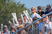 Plovdiv, Bulgaria, Sunday,  16th September 2018. FISA, World Rowing Championships,   German Men's Eight Supporters' with Clappers, from the Boat Sponsor. © Peter SPURRIER, 16.09.18