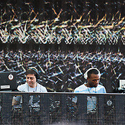 COLUMBIA, MD - October 6th, 2012 - Will Eastman and Outputmessage (Bernard Farley) of Volta Bureau perform at the 2012 Virgin Mobile FreeFest in Columbia, MD. (Photo by Kyle Gustafson / For The Washington Post)