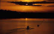 Sydney, AUSTRALIA, Crew [Double Scull} on the training lake for an early morning training session, at the 2000 Olympic Regatta, Penrith Lakes. [Photo Peter Spurrier/Intersport Images] 2000 Olympic Rowing Regatta00085138.tif