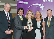 Dr Tony Lenehan of Fáilte Ireland and Matt Fisher COO, EFQM present Nicola Lawless, Natalie Smith and Mark Long of Clontarf Castle with their award at the EFQM Ireland Excellence Awards ceremony in association with Fáilte Ireland and the Centre for Competitiveness at the Galway Bay Hotel on Friday night. Photo:- Andrew Downes Photography / No Fee