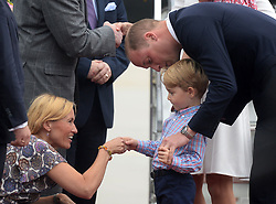The Duke and Duchess of Cambridge, Prince George and Princess Charlotte arrive at Warsaw Chopin Airport at the start of their two day visit to Poland, on the 17th July 2017. 17 Jul 2017 Pictured: Prince William, Duke of Cambridge, Prince George. Photo credit: MEGA TheMegaAgency.com +1 888 505 6342