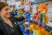 The main characters from Disney's Zootropolis film on the Tomy Stand - The annual London Toy Fair, the trade show for the toy and games industry, takes place at Olympia.