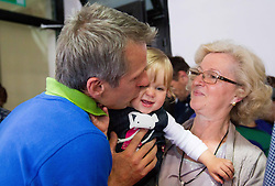 Farewell of Slovenian athlete Aljaz Pegan (at picture with his daughter Alina) at his last competition in his sports career during Slovenian Gymastics Cup 2013 on June 2, 2013 in GIB arena, Ljubljana, Slovenia. (Photo By Vid Ponikvar / Sportida)