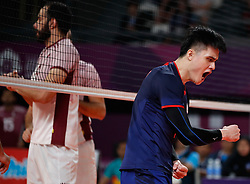 JAKARTA, Sept. 1, 2018  Liu Hungmin (R) of  Chinese Taipei celebrates after scoring during Volleyball Men's Bronze Medal Match against Qatar at the Asian Games 2018 in Jakarta, Indonesia on Sept. 1, 2018. (Credit Image: © Wang Lili/Xinhua via ZUMA Wire)