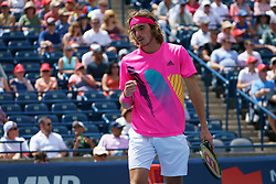 August 10, 2018 - Toronto, ON, U.S. - TORONTO, ON - AUGUST 10: Stefanos Tsitsipas (GRE) celebrates after winning a point during his Quarter-Finals match of the Rogers Cup tennis tournament on August 10, 2018, at Aviva Centre in Toronto, ON, Canada. (Photo by Julian Avram/Icon Sportswire) (Credit Image: © Julian Avram/Icon SMI via ZUMA Press)