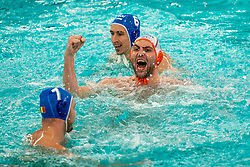 Guus van IJperen of the Netherlands in action against Romania during the Olympic qualifying tournament. The Dutch water polo players are on the hunt for a starting ticket for the Olympic Games on February 16, 2021 in Rotterdam