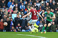 Dayle Southwell of Lincoln City ® tries a shot  at goal but sees his effort go wide. The Emirates FA cup 5th round match, Burnley v Lincoln City at Turf Moor in Burnley, Lancs on Saturday 18th February 2017.<br /> pic by Chris Stading, Andrew Orchard Sports Photography.