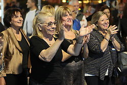May 26, 2019 - Athens, Greece - Supporters of New Democracy party celebrate their victory at a campaign kiosk in Athens. New Democracy recorded a landslide victory in the European elections (Credit Image: © Aristidis VafeiadakisZUMA Wire)