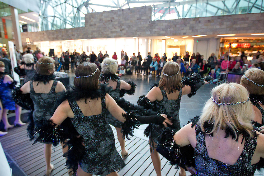 Federation Square, Melboure, 18th August 2010:  Members of the Council Of The Aged Tap Group perform at the launch of the 2010 Seniors Festival Program at Federation Square..Photo: Joseph Feil