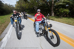 Chris Wade of Charlotte, NC on his custom 1953 Harley-Davidson Panhead riding through Tamoka State Park during Daytona Beach Bike Week  2015. FL, USA. Friday, March 13, 2015.  Photography ©2015 Michael Lichter.