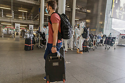 © Licensed to London News Pictures. 19/05/2021. London, UK. Heathrow Airport travellers arrive at the airport in West London as around five million British booked holidays to Europe. Photo credit: Marcin Nowak/LNP