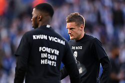 Leicester City's Jamie Vardy (right) wearing a commemorative t-shirt for Leicester City Chairman Vichai Srivaddhanaprabha during the Premier League match at the King Power Stadium, Leicester.