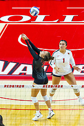 BLOOMINGTON, IL - August 13:  Kathy Weimerskrch  and Jessica D'Ambrose during a college Women's volleyball Scrimmage of the Illinois State Redbirds on  August 13 2021 at Illinois State University in Normal, IL. (Photo by Alan Look)