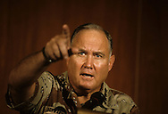 General Norman Schwarzkoph makes a point at a press conference in Dharhan...Photograph by Dennis Brack bb24