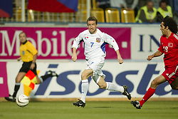 TEPLICE, CZECH REPUBLIC - Wednesday, April 30, 2003: Czech Republic's Vladimir Smicer in action against Turkey during a friendly match at the Teplice Stadion Na Stinadlech. (Pic by David Rawcliffe/Propaganda)