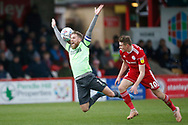 Scott Wagstaff of Wimbledon is fouled by Joe Pritchard of Accrington   during the EFL Sky Bet League 1 match between Accrington Stanley and AFC Wimbledon at the Fraser Eagle Stadium, Accrington, England on 1 February 2020.