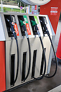 Petrol station pumps. Photographed in Catalonia, Spain