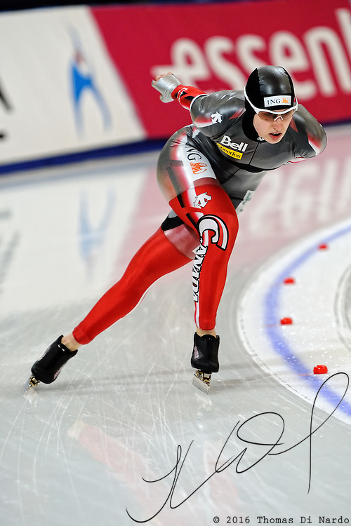 Brittany Schussler (CAN) competes in the 5000m competition at the 2009 ISU World Single Dinstances Speed Skating Championships at the Vancouver Olympic Oval in Richmond, BC, Canada on March 14, 2009.