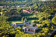 "Nederland, Utrecht, Amersfoort, 27-05-2013; Vlasakkers. Voorgrond Former Monastery of the Order of the Holy Cross ""Constantinianum"" (nowadays Leerhotel Het Klooster)<br /> Achtergrond  OLV Ter Eem.<br /> luchtfoto (toeslag op standaardtarieven);<br /> aerial photo (additional fee required);<br /> copyright foto/photo Siebe Swart."