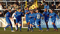 Photo: Paul Greenwood.<br />Macclesfield Town v Hereford United. Coca Cola League 2. 20/01/2007. Macclesfield's Kevin McIntyre (centre) is mobbed after scoring from the spot