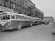 Y-480818-02.  Trolley busses on SW Stark, Portland, between 4th and 5th. August 18, 1948