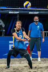 Yorick de Groot in action during the first day of the beach volleyball event King of the Court at Jaarbeursplein on September 9, 2020 in Utrecht.
