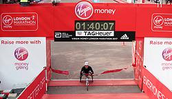 Switzerland's Manuela Schar wins the Women's Wheelchair race during the Virgin Money London Marathon, London. PRESS ASSOCIATION. Picture date: Sunday April 23, 2017. See PA story ATHLETICS Marathon. Photo credit should read: Yui Mok/PA Wire
