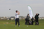 Alex Bolger (Blackrock College) on the 1st tee during the Final of the Irish Schools Senior Championship at Portstewart Golf Club, Portstewart, Co Antrim on Tuesday 23rd April 2019.<br /> Picture:  Thos Caffrey / www.golffile.ie