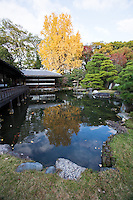 """Teahouses at Shosei-en Garden - Rinchi-tei on the left and Tekisui-ken to its right. Shosei-en Garden was designed as a retreat for the chief priest Sen'nyo.  Shosei-en is also called Kikoku-tei """"Orange Mansion"""" because it was once surrounded by orange groves. The garden is a Chisen-Kaiyu-Shiki teien  that is a pond strolling garden with buildings such as tea-ceremony houses arranged here and there throughout the grounds."""