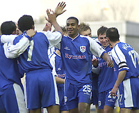 MILLWALL VS BURNLEY<br /> 28TH  FEBRUARY 2004<br /> MILLWALL CELEBRTAE THEIR 2ND GOAL BY PETER SWEENEY (2R)<br /> Sportsbeat Images