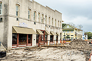 Restoration work on St Marys Street following flooding and damage from Hurricane Irma in the Historic District of St Marys, Georgia.