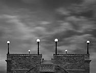 Rooftop Lights Under Twilight Skies At Ault Park In Cincinnati Ohio, USA