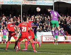 Bristol City's Aden Flint scores the opening goal of the game. - Photo mandatory by-line: Dougie Allward/JMP - Mobile: 07966 386802 - 07/03/2015 - SPORT - Football - Crawley - Broadfield Stadium - Crawley Town v Bristol City - Sky Bet League One