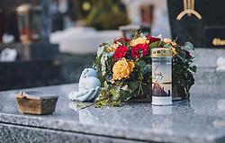 THEMENBILD - Grabschmuck und Kerzen auf einem Grab. Am 1. November gedenken Katholiken aller Menschen, die in der Kirche als Heilige verehrt werden. Das Fest Allerseelen am darauf folgenden 2. November, ist dem Gedaechtnis aller Verstorbenen gewidmet, aufgenommen am 30. Oktober 2020 in Kaprun, Oesterreich // Grave decoration and candles on a grave. On All Saints' Day November 1, Catholics remember all people who are venerated as saints in the church. The festival Souls on the following November 2 is dedicated to the memory of all deceased, taken at the cemetery in Kaprun, Austria on 2020/10/30. EXPA Pictures © 2020, PhotoCredit: EXPA/Stefanie Oberhauser