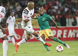 17032018 (Durban) Danny Venter of Arrows tackle when Orlando Pirates walloped Golden Arrows 2-1 at the ABSA premier league encounter at Princess Magogo Staduim, in Kwa-Mashu, Durban. Pirates has advance their league position to number 2 with 41 points after Sundowns with 42 points lead.<br /> Picture: Motshwari Mofokeng/African New Agency/ANA