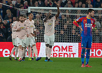 Football - 2018 / 2019 Premier League - Crystal Palace vs. Manchester United<br /> <br /> Romelu Lukaku (Manchester United) salutes the heavens after giving his team the lead at Selhurst Park.<br /> <br /> COLORSPORT/DANIEL BEARHAM