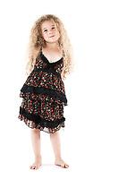 caucasian little girl smile happy isolated studio on white background