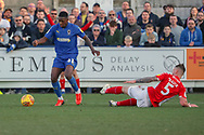 AFC Wimbledon attacker Michael Folivi (41) dribbling into the box during the EFL Sky Bet League 1 match between AFC Wimbledon and Charlton Athletic at the Cherry Red Records Stadium, Kingston, England on 23 February 2019.