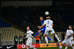 November 15, 2018 - Athens, Attiki, Greece - Paulus Arajuuri (no 2) of Finland takes the ball from Vasillis Torosidids (no 15) of Greece. (Credit Image: © Dimitrios Karvountzis/Pacific Press via ZUMA Wire)