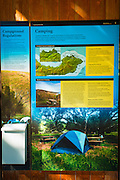 Camping information at Scorpion Ranch, Santa Cruz Island, Channel Islands National Park, California USA