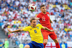 July 7, 2018 - Samara, Russia - 180707 Ludwig Augustinsson of Sweden and Kieran Trippier of England competes for the ball during the FIFA World Cup quarter final match between Sweden and England on July 7, 2018 in Samara..Photo: Petter Arvidson / BILDBYRÃ…N / kod PA / 92083 (Credit Image: © Petter Arvidson/Bildbyran via ZUMA Press)