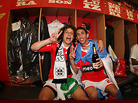 20100509: LISBON, PORTUGAL - SL Benfica vs Rio Ave: Portuguese League 2009/2010, 30th round. Players celebrations in the locker room. In picture: David Luiz and Angel Di Maria. PHOTO: CITYFILES