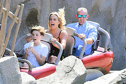 EXCLUSIVE: *NO WEB UNTIL 1030PM GMT 16TH APRIL* David and Victoria Beckham take their kids on a fun day out at Disneyland. The happy family were seen enjoying many of the park's thrill rides including Big Thunder Mountain, Space Mountain, The Matterhorn, and the Pirates of the Caribbean. The family was also seen enjoying a ride on the Pirates of the Caribbean ride. They Stopped by for snacks and Harper enjoyed a frozen chocolate banana while the rest of the group munched on popcorn and churros. 14 Apr 2018 Pictured: David Beckham, Harper Beckham, Victoria Beckham, Cruz Beckham and Romeo Beckham. Photo credit: MARKSMEN / MEGA TheMegaAgency.com +1 888 505 6342