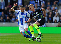 BRIGHTON, ENGLAND - MAY 12:  Oleksandr Zinchenko (35) of Manchester City battles for possession with Anthony Knockaert (11) of Brighton and Hove Albion during the Premier League match between Brighton & Hove Albion and Manchester City at American Express Community Stadium on May 12, 2019 in Brighton, United Kingdom. (MB Media)