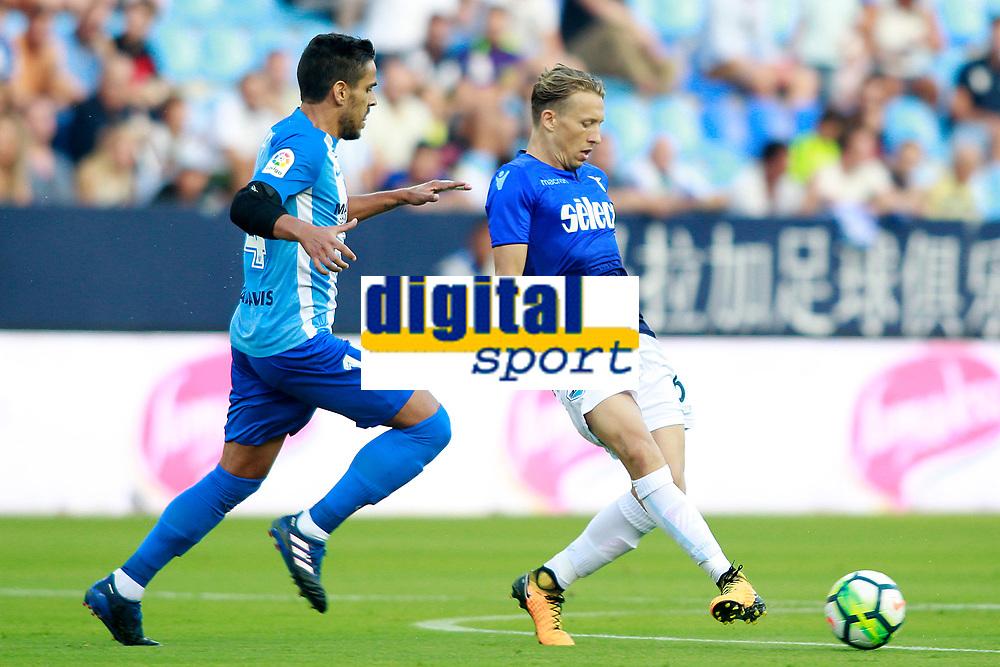 Malaga CF's Jose Luis Garcia Recio (l) and SS Lazio's Pezzini Leiva during XXXIII Costa del Sol Trophy. August 5,2017. (ALTERPHOTOS/Acero)