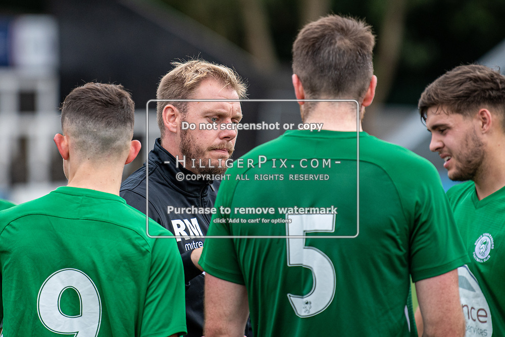 BROMLEY, UK - SEPTEMBER 22: Rob Mason, Manager of Soham Town Rangers, talks to his team after the Emirates FA Cup Second Round Qualifier match between Cray Wanderers and Soham Town Rangers at Hayes Lane on September 22, 2019 in Bromley, UK. <br /> (Photo: Jon Hilliger)