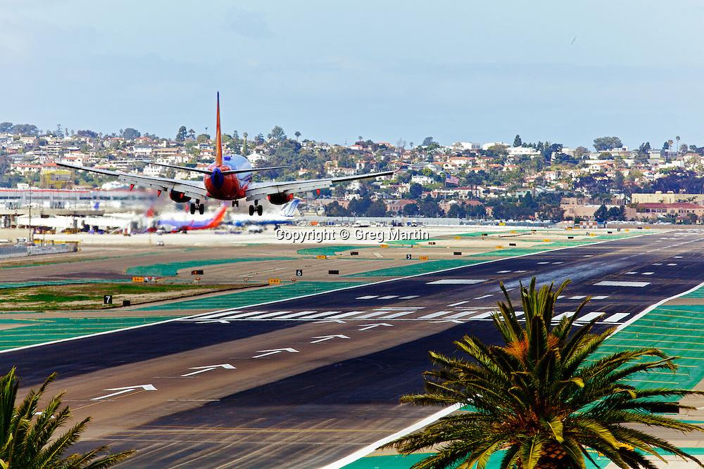 A Southwest jet landing at San Diego International airport